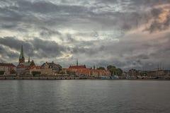 Helsingor pejzażu miejskiego błękita godzina Fotografia Royalty Free