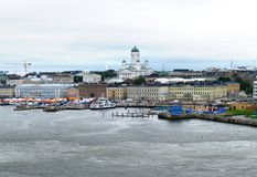 Helsinki aerial panorama. Gray day in Helsinki, capital of Finland as seen from the Baltic sea royalty free stock photo