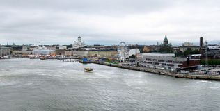 Helsinki aerial panorama. Gray day in Helsinki, capital of Finland as seen from the Baltic sea stock images