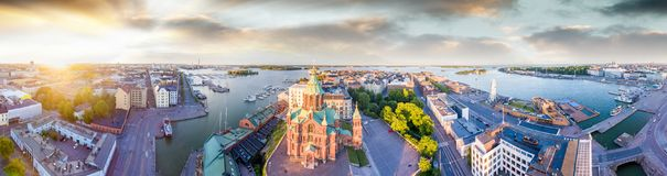 Helsinki aerial panoramic view at sunset, Finland.  royalty free stock photography