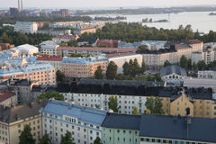 Helsinki Aerial View. Elevated view of Helsinki rooftops just before sunset at summer 2015 royalty free stock photography