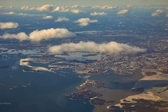 Helsinki aerial view. Helsinki viewed from the air in early spring royalty free stock images