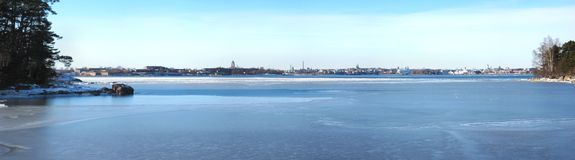 Helsinki Archipelago panorama. Beautiful clear winter in Finland. Wide panorama picture of Gulf of Finland, city of Helsinki and Helsinki archipelago stock images