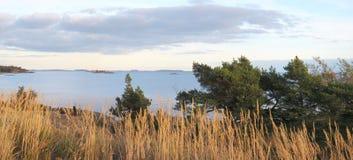 Helsinki Archipelago panorama. Wide panorama picture of Gulf of Finland and Helsinki archipelago royalty free stock photo