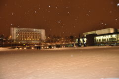Helsinki architecture by snow fall, night view Stock Photo