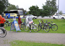 Helsinki,august 23 2014-Bicycles in the Park from Helsinki in Finland Royalty Free Stock Photo