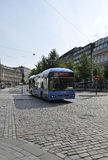 Helsinki,august 23 2014-Bus from Helsinki in Finland stock photo
