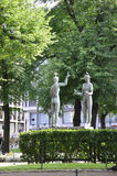 Helsinki,august 23 2014-Central Park Statues from Helsinki in Finland royalty free stock photo