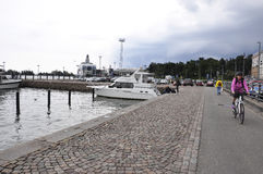Helsinki,august 23 2014-Harbour of Helsinki in Finland royalty free stock image