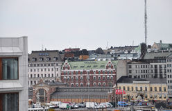 Helsinki,august 23 2014-Old Market and Quay view from Helsinki in Finland stock photo
