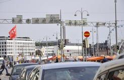 Helsinki, 23 augustus 2014-kade mening van Helsinki in Finland Royalty-vrije Stock Foto's