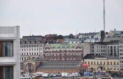 Helsinki, 23 augustus 2014-oude Markt en Kademening van Helsinki in Finland Stock Foto