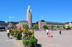 Helsinki-Bahnquadrat und zentraler Bahnhof, Finnland stockbild