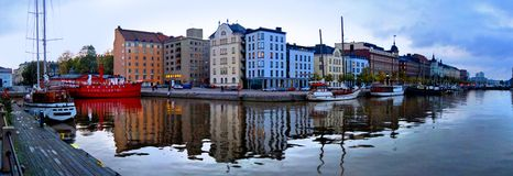 Helsinki black water poster. Panorama , calm in Helsinki Finland Stock Photos
