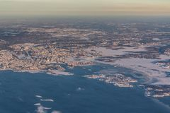 Helsinki, Capital of Finland - aerial view - winter landscape. Helsinki, Capital of Finland - aerial view with Baltic Sea and Islands - winter landscape during royalty free stock photos