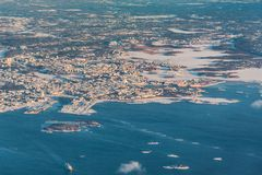 Helsinki, Capital of Finland - aerial view - winter landscape. Helsinki, Capital of Finland - aerial view with Baltic Sea and Islands - winter landscape during royalty free stock photography