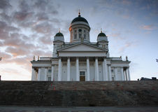 Helsinki Cathedral. At sunset with steps Stock Photos