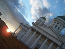Helsinki Cathedral. View of Helsinki Cathedral at daybreak stock image