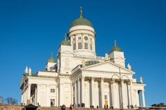 Helsinki Cathedral in the centre early morning sun light. Finland, Helsinki. 24 November 2018.  stock images