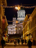 Helsinki Cathedral and a Christmas Lights in the Sofian Street Royalty Free Stock Image