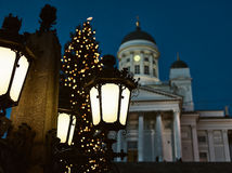 Helsinki Cathedral and a Christmas Tree Royalty Free Stock Photography
