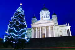 Helsinki Cathedral with Christmas tree at twilight Stock Photography