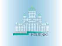 Helsinki Cathedral dotted style illustration. European Capitals collection Stock Photo