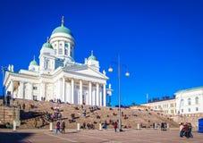 Helsinki Cathedral St Nicholas ` Church on Senate Square, Helsinki, Finland stock image