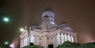 Helsinki Cathedral in a foggy night Stock Photos