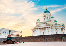 Helsinki Cathedral, Helsinki, Finland. Summer Sunset Evening Stock Photos