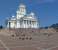 Helsinki Cathedral. Helsinki Lutheran Cathedral on Senate Square is a landmark of the city royalty free stock images