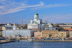 Helsinki Cathedral and Market Square in South Harbor of Helsinki, Finland. View of Helsinki Cathedral and Market Square (Kauppatori) in South Harbor of Helsinki royalty free stock photo
