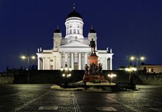 Helsinki cathedral and monument to Alexander II Royalty Free Stock Image