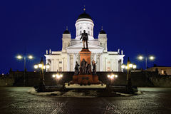 Helsinki cathedral and monument to Alexander II Royalty Free Stock Photo