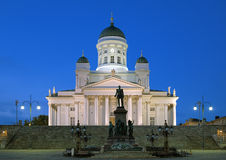 Helsinki cathedral and monument to Alexander II Stock Image