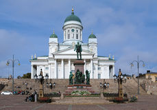 Helsinki cathedral and monument to Alexander II Royalty Free Stock Photography