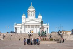 Helsinki Cathedral at Helsinki Senate square Royalty Free Stock Image