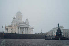 Helsinki Cathedral and statue of emperor Alexander II, Finland Stock Images