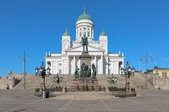 Helsinki cathedral and statue of Emperor Alexander II, Finland Royalty Free Stock Images