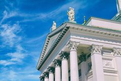 Helsinki Cathedral. Statues on the Helsinki Cathedral rooftop royalty free stock photo