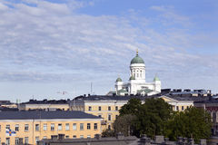 Helsinki cathedral towers above city centre Royalty Free Stock Photos