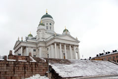 Helsinki cathedral in winter. Finnish Evangelical Lutheran cathedral of the Diocese of Helsinki Stock Image