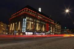Helsinki Christmas. Stockmann night lights Stock Photos