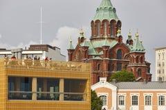 Helsinki center skyline. Orthodox church of Uspensky. Finland he. Helsinki city center skyline. Orthodox church of Uspensky. Finland heritage Stock Photos