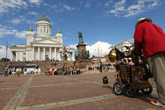 Helsinki City Entertainment. Helsinki City White Church Entertainment Musician Performing Royalty Free Stock Image