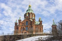 Helsinki city, Finland. Helsinki, Finland. Uspenski Cathedral Uspenskin katedraali, an Eastern Orthodox cathedral dedicated to the Dormition of the Virgin Mary stock photos