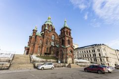 Helsinki city, Finland. Helsinki, Finland. Uspenski Cathedral Uspenskin katedraali, an Eastern Orthodox cathedral dedicated to the Dormition of the Virgin Mary stock image
