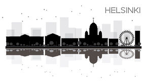 Helsinki City skyline black and white silhouette with reflection Royalty Free Stock Photos
