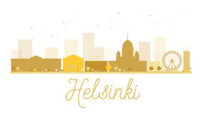 Helsinki City skyline golden silhouette. Royalty Free Stock Images