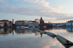 Helsinki Cityscape with Yacht Marina and Uspenski Cathedral Stock Image